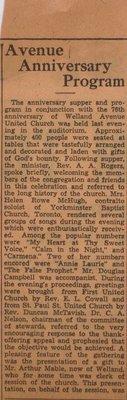 Welland Avenue United Church - 76th Anniversary