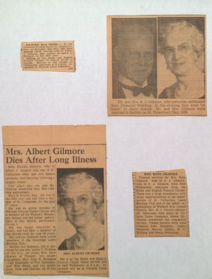 Anniversary notice for Mr & Mrs Gilmore and Obituary for Mrs Gilmore