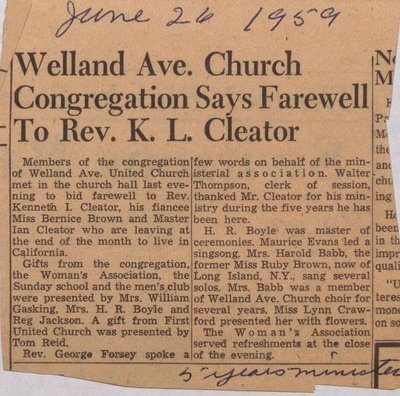 Departure of Reverend Cleator from Welland Avenue United Church
