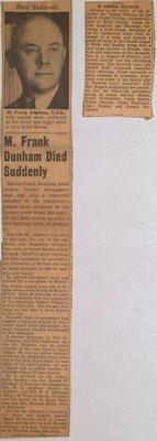 Death of M. Frank Dunham