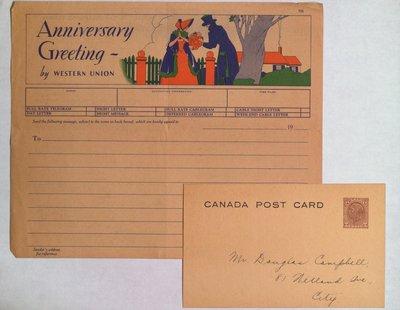 Canada Post Card and Blank Western Union Telegram