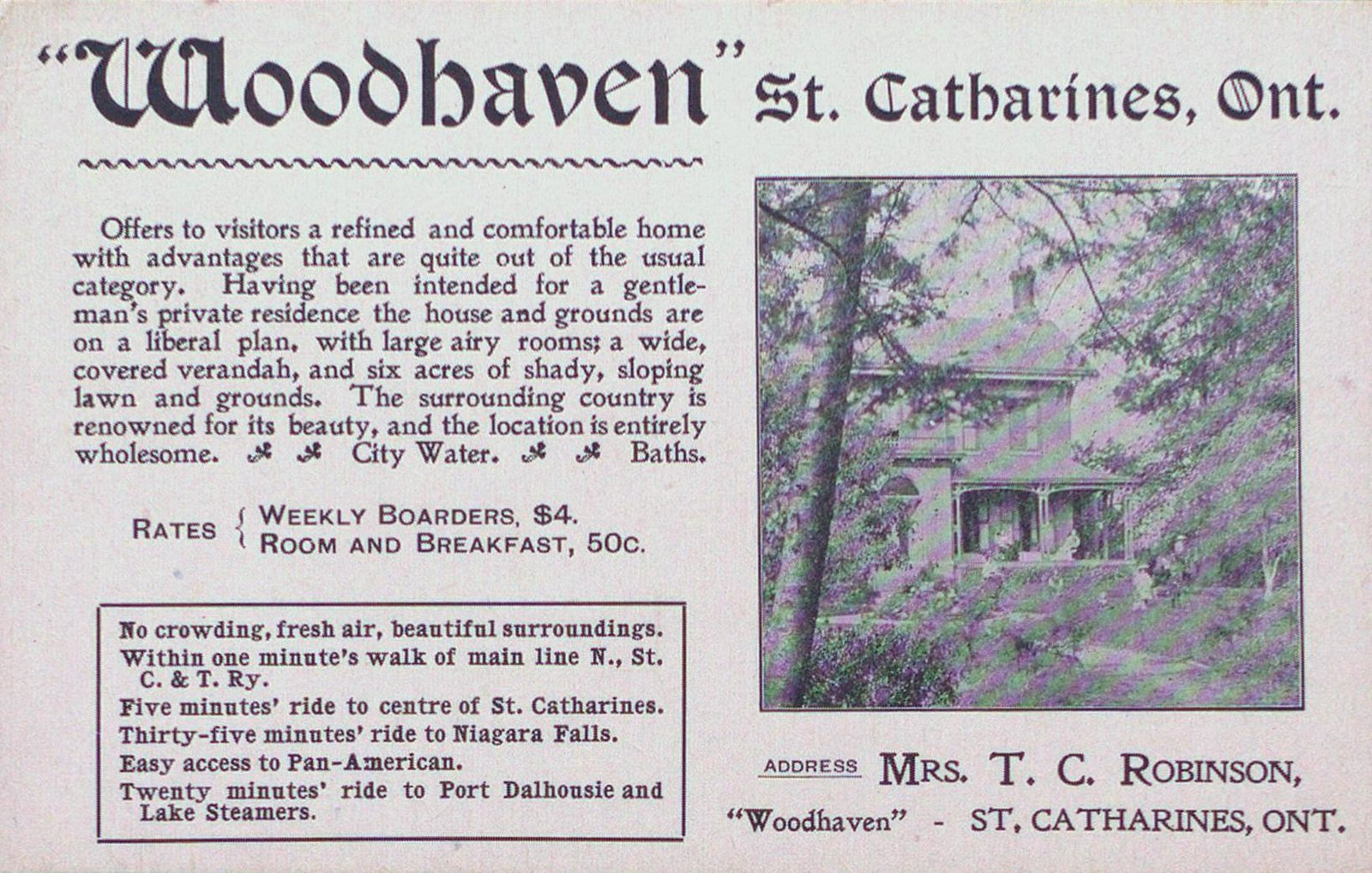 """An Advertisement for the Boarding House """"Woodhaven"""""""