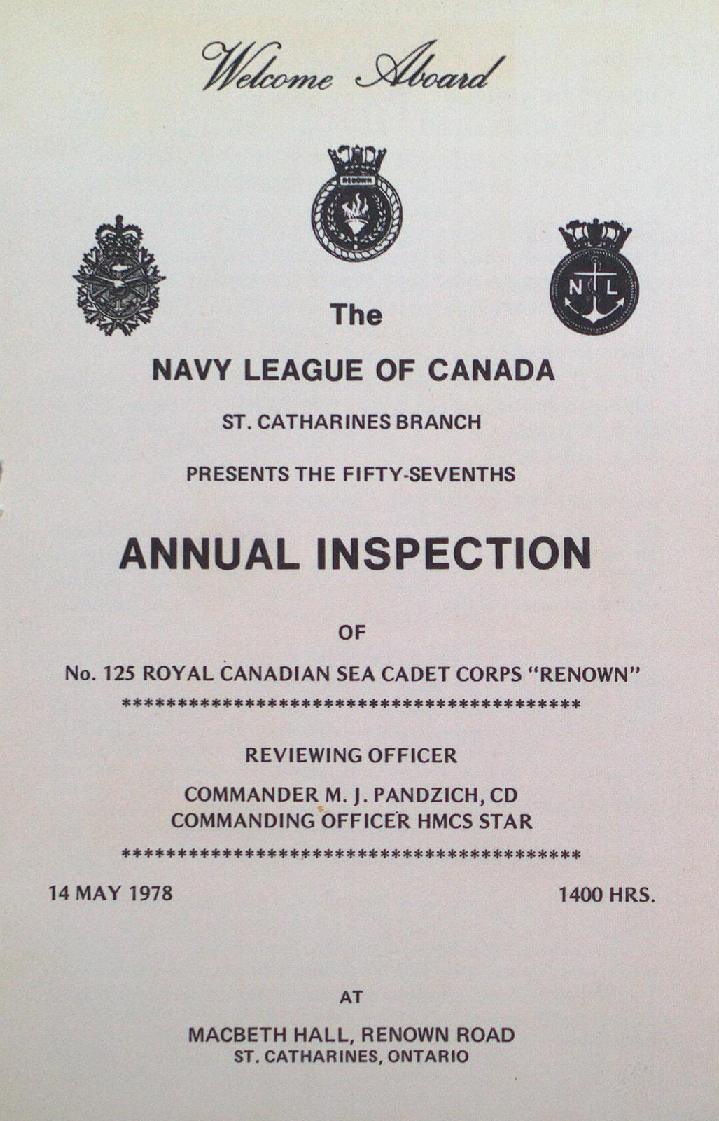 "Program for the 57th Annual Inspection of the Royal Canadian Sea Cadet Corps ""Renown"""