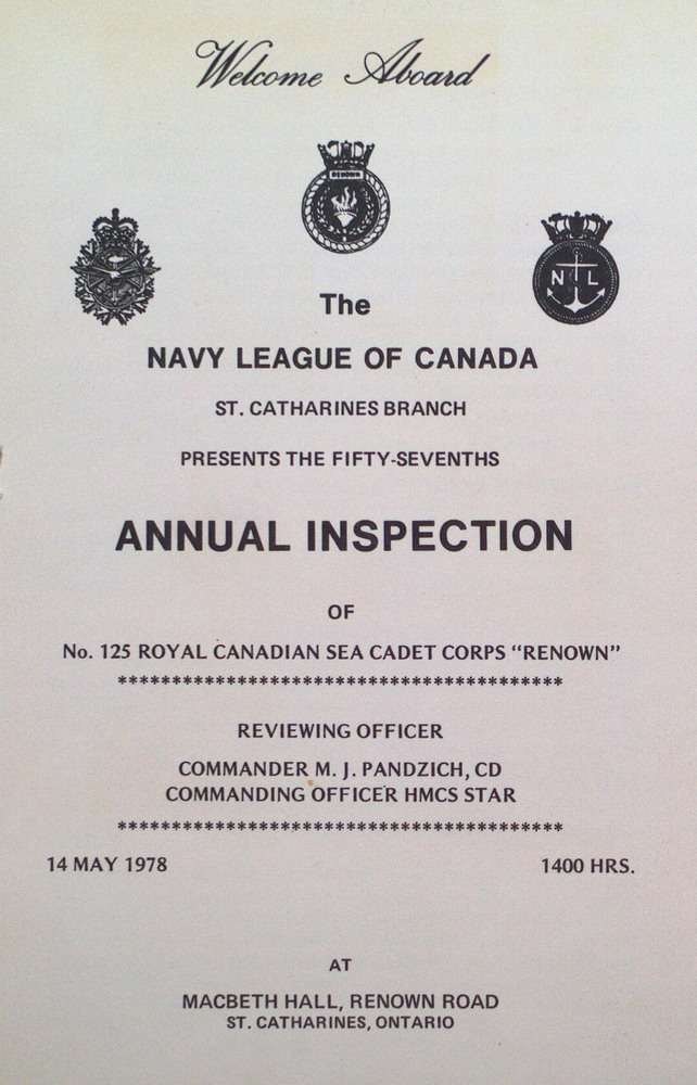 """Program for the 57th Annual Inspection of the Royal Canadian Sea Cadet Corps """"Renown"""""""