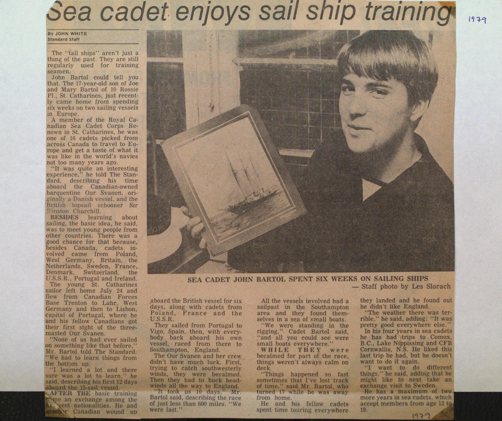 "A ""Renown"" Sea Cadet Received Sail Ship Training"
