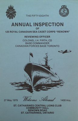 "Program for the 58th Annual Inspection of the Royal Canadian Sea Cadet Corps ""Renown"""