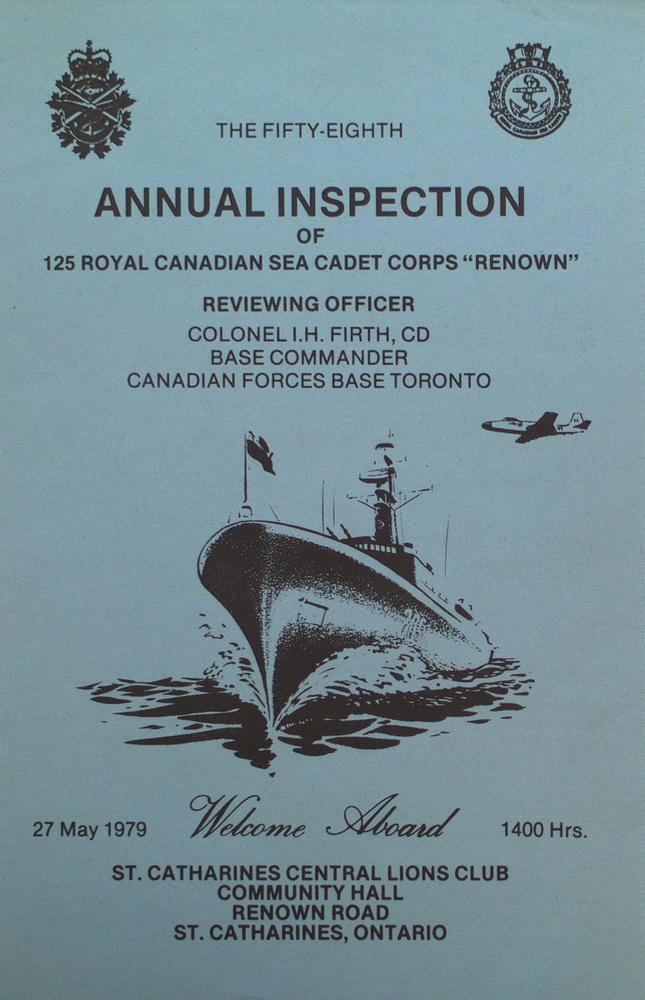 """Program for the 58th Annual Inspection of the Royal Canadian Sea Cadet Corps """"Renown"""""""