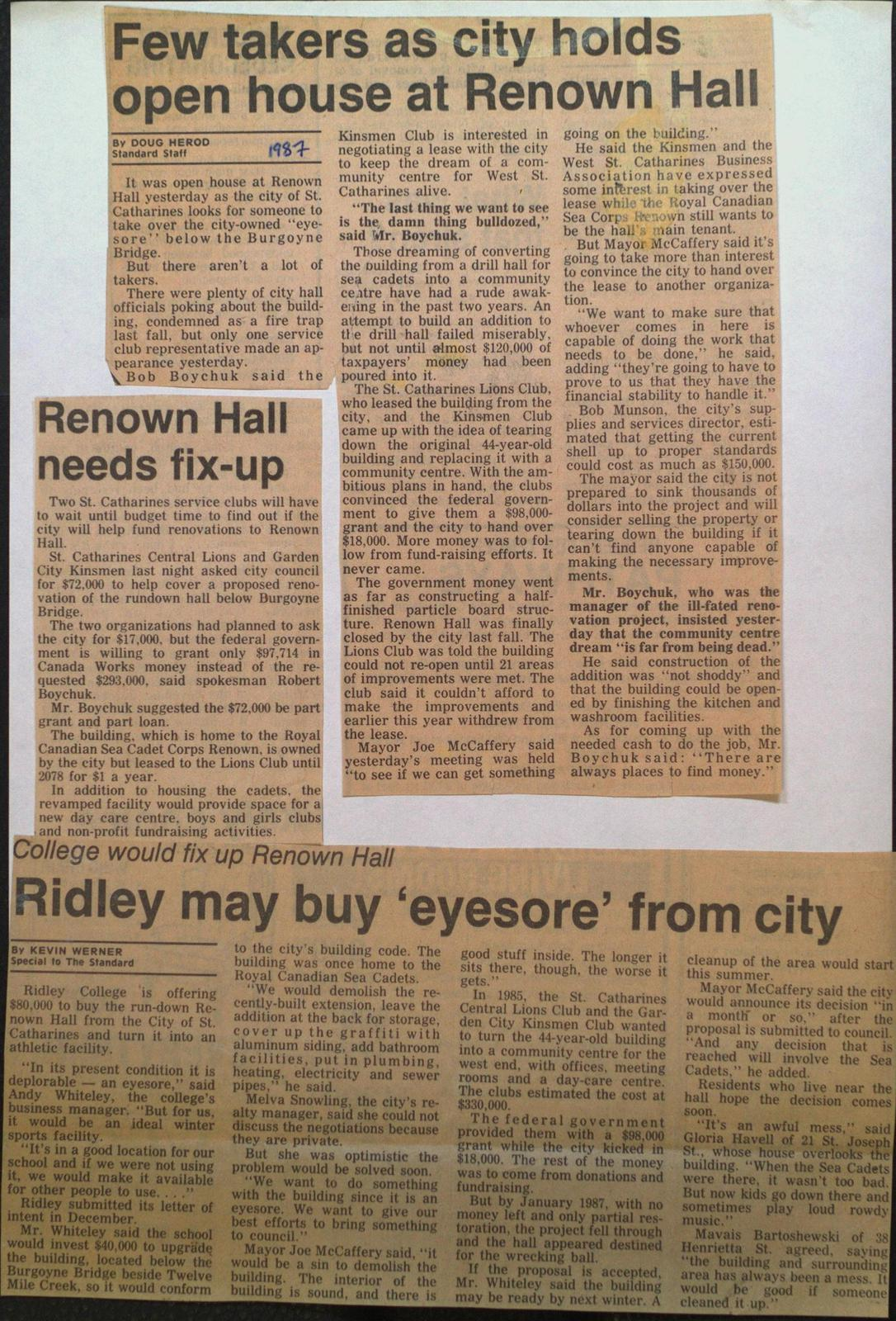 Renown Hall Needs Fixing Up