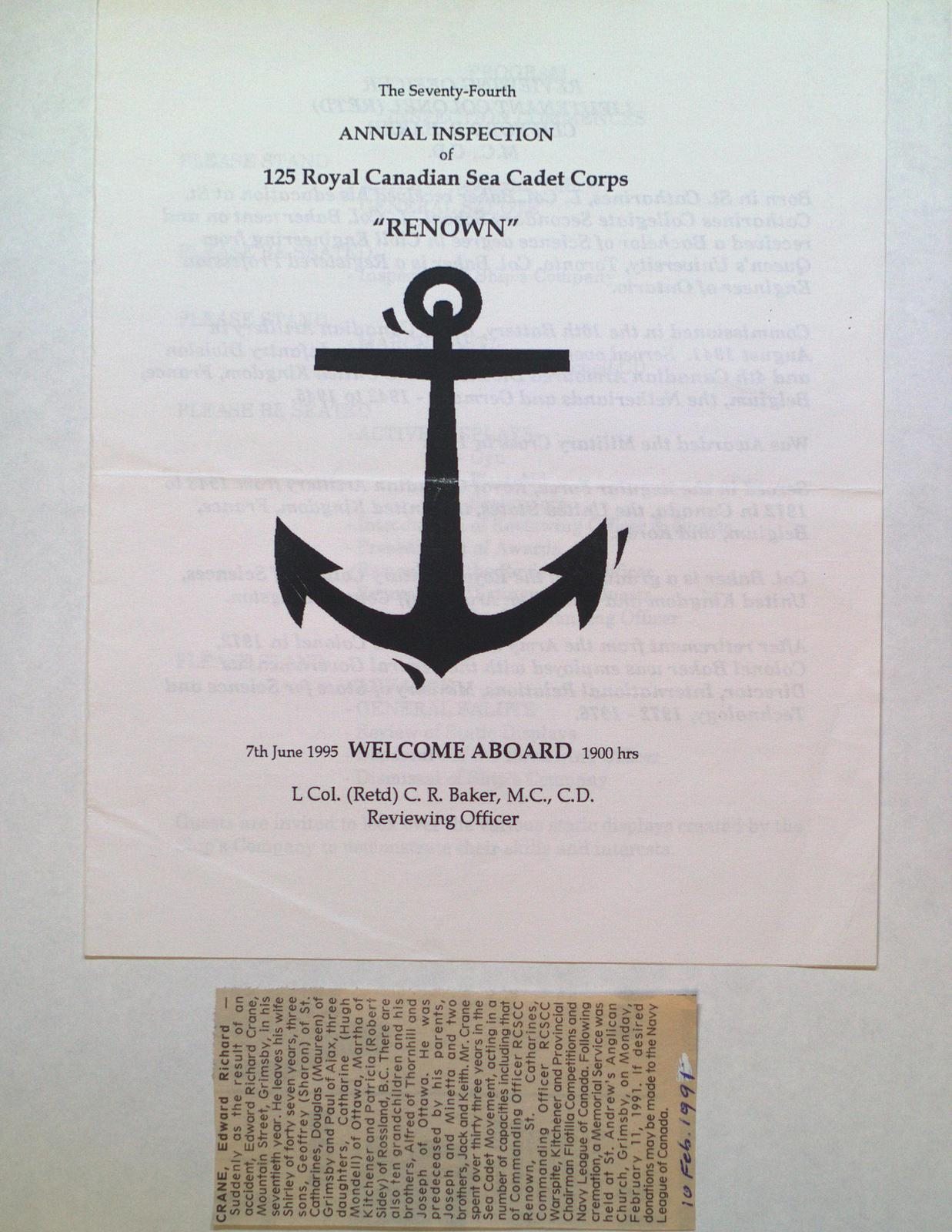 """74th Annual Inspection of the Royal Canadian Sea Cadet Corps """"Renown"""""""