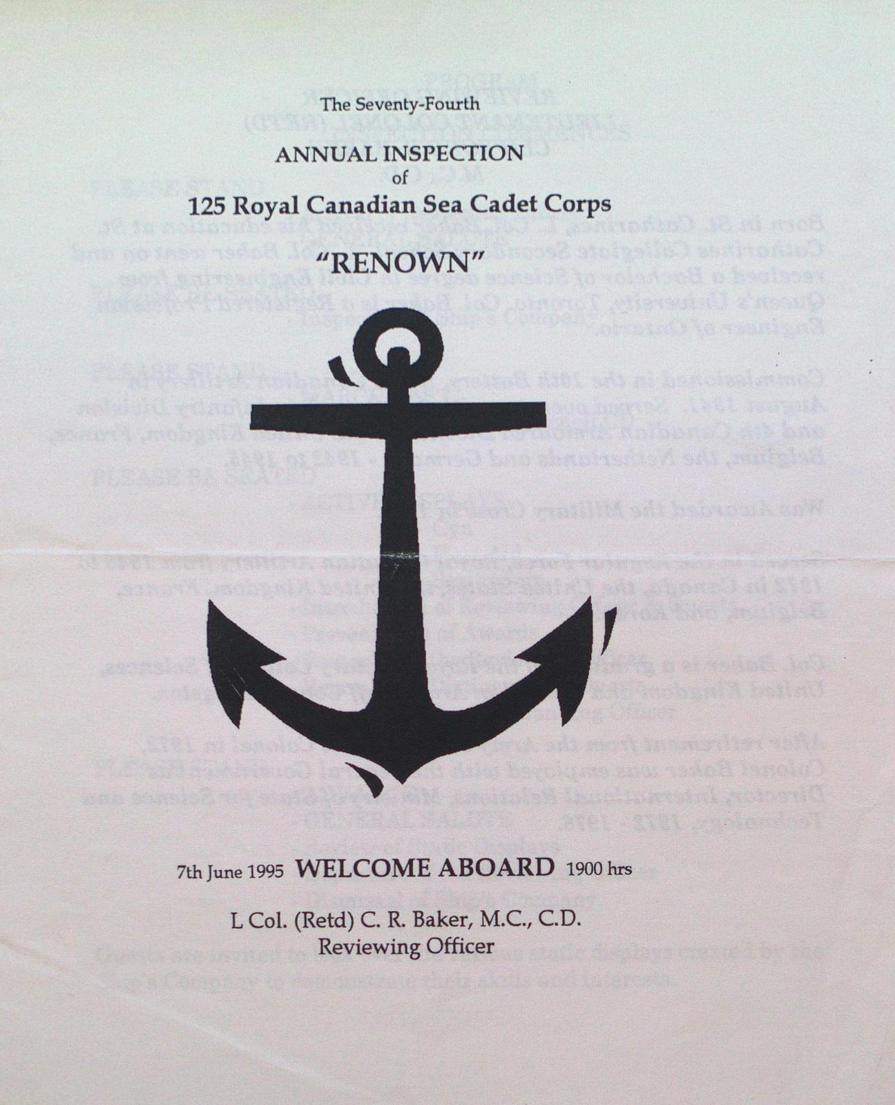 """74th Annual Inspection Program for the Royal Canadian Sea Cadet Corps """"Renown"""""""