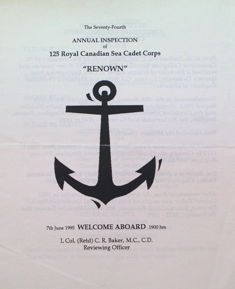 "74th Annual Inspection Program for the Royal Canadian Sea Cadet Corps ""Renown"""