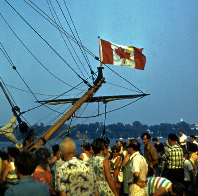 """The Canadian Flag on the Bow of the Replica Ship, """"Nonsuch"""""""