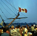 "The Canadian Flag on the Bow of the Replica Ship, ""Nonsuch"""