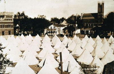 Tents Set Up Outside the St. Catharines Armoury