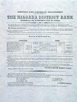 The Niagara District Bank Report and General Statement