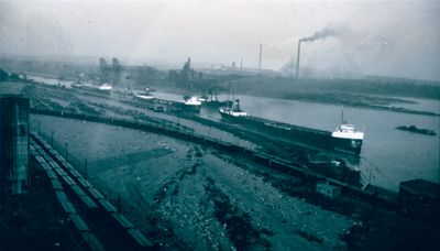 Grain Ships Waiting to Unload in the Welland Canal