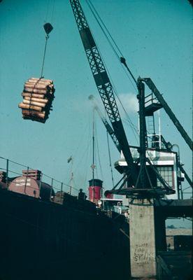 A Ship Unloading Wood along the Welland Ship Canal