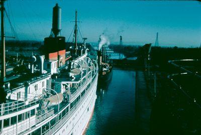 A Ship in the Welland Canal Flight Locks