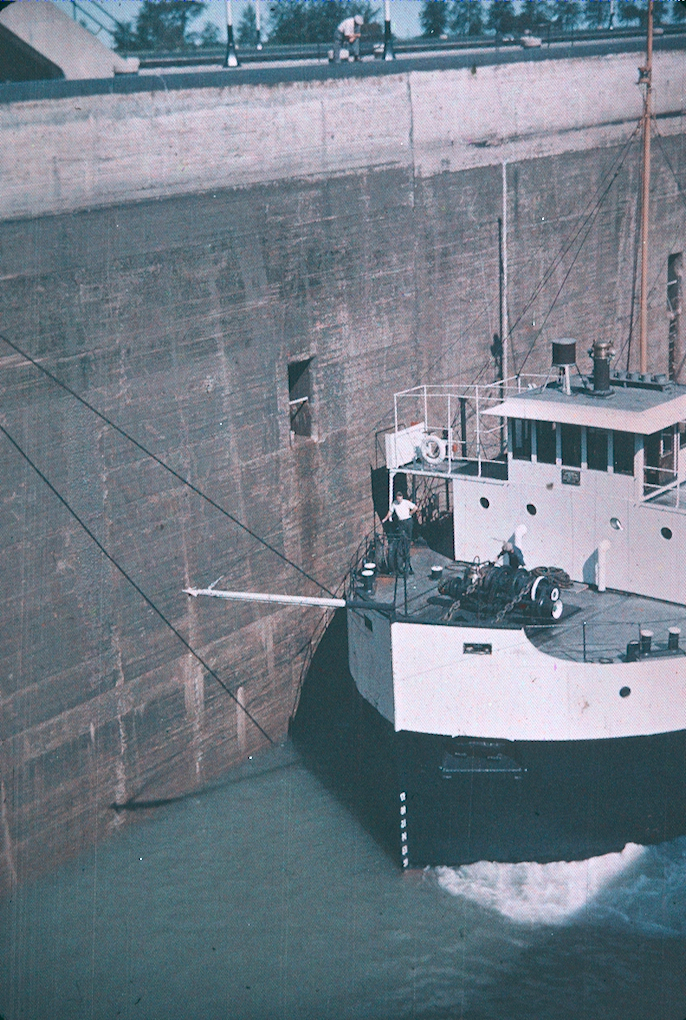A Ship and Lock on the Welland Ship Canal