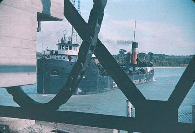A Ship Approaching a Bridge on the Welland Ship Canal