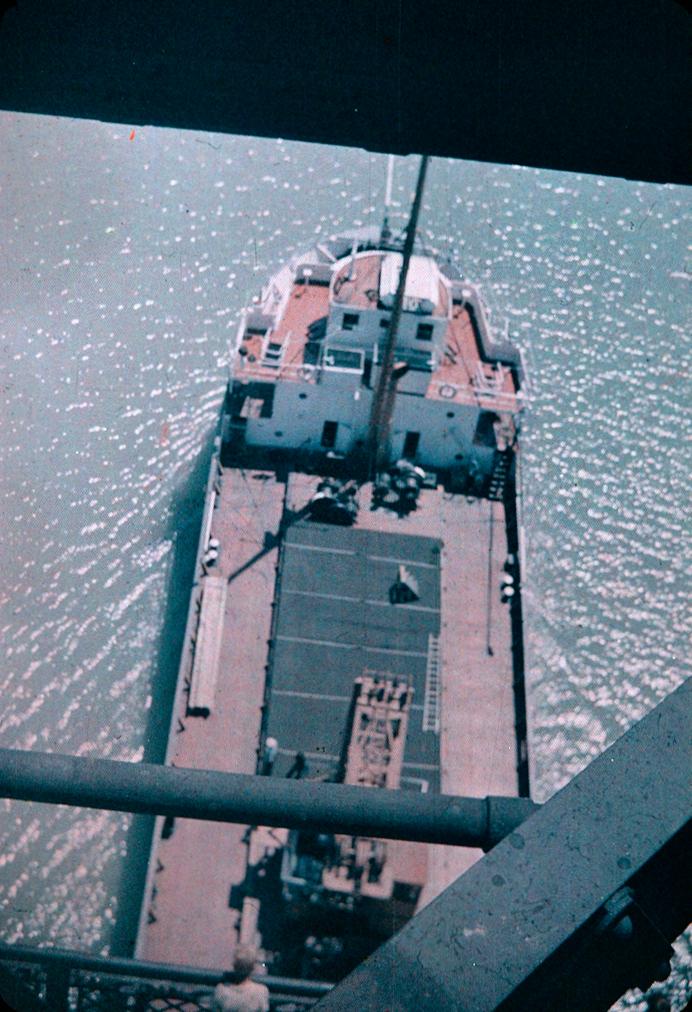 A Ship Passing Underneath a Lift Bridge
