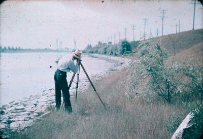 A Gentleman Surveying Along the Welland Ship Canal