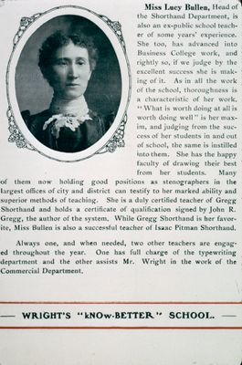 Miss Lucy Bullen, Head of the Shorthand Department, St. Catharines Business College