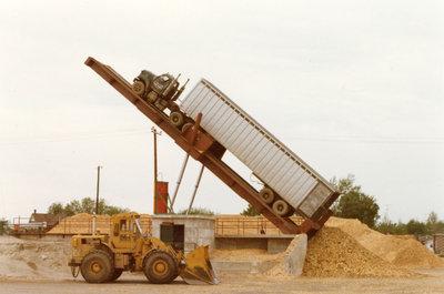 Truck Dumping Wood Chips in the MacMillan Bloedel yard, Sturgeon Falls