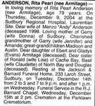 Nécrologie / Obituary Rita Pearl Anderson (née Armitage)