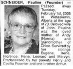 Nécrologie / Obituary Pauline (Fournier) Schneider