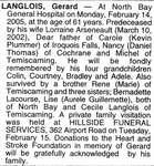 Nécrologie / Obituary Gerard Langlois