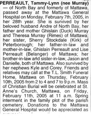 Nécrologie / Obituary Tammy-Lynn Perreault (née Murray)