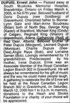 Nécrologie / Obituary Ernest John Dupuis