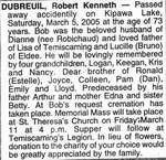 Nécrologie / Obituary Robert Kenneth Dubreuil