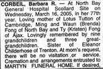 Nécrologie / Obituary Barbara R. Corbeil