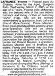 Nécrologie / Obituary Yvonne Lafrance