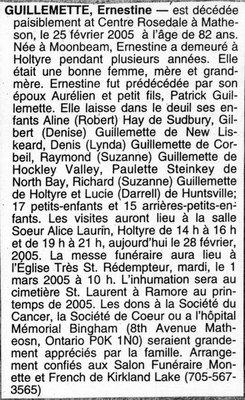 Nécrologie / Obituary Ernestine Guillemette