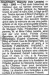 Nécrologie / Obituary Blanche Chantigny (née Larabie)