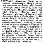 Nécrologie / Obituary Jean-Paul (Pere) Bertrand