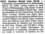 Nécrologie / Obituary Noeline Murial Rice (née Gard)