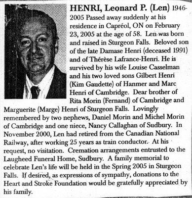 Nécrologie / Obituary Leonard P. (Len) Henri