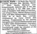 Nécrologie / Obituary Noella Michaud