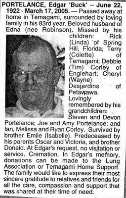 Nécrologie / Obituary Edgar 'Buck' Portelance