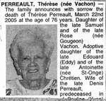 Nécrologie / Obituary Thérèse Perreault (née Vachon)