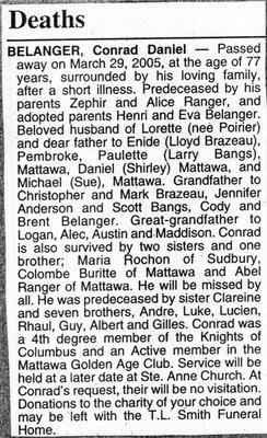 Nécrologie / Obituary Conrad Daniel Belanger