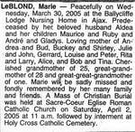 Nécrologie / Obituary Marie LeBlond