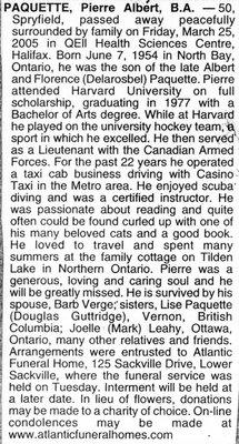 Nécrologie / Obituary Pierre Albert Paquette B.A.
