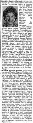 Nécrologie / Obituary Pauline Gagnon (née Gareau)