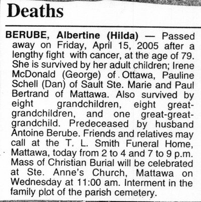 Nécrologie / Obituary Albertine (Hilda) Berube