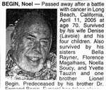 Nécrologie / Obituary Noel Begin